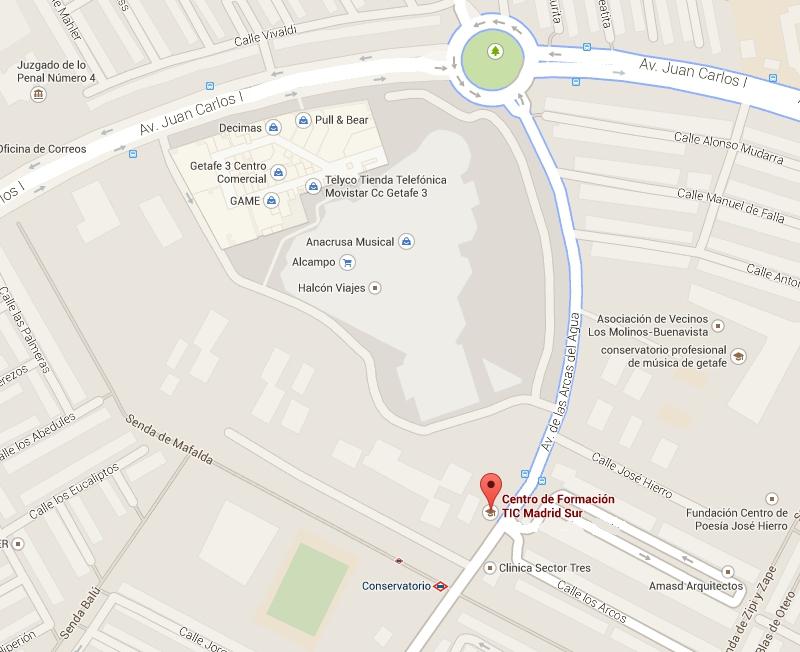 Mapa de situación del CFTIC Madrid, Getafe.