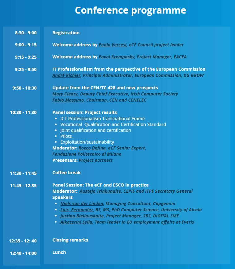 Agenda eCF Alliance en Bruselas